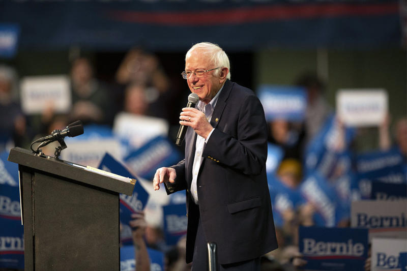 Democratic presidential candidate Sen. Bernie Sanders, I-Vt., speaks at a campaign rally Monday, March 2, 2020, in St. Paul, Minn. (AP Photo/Andy Clayton-King)