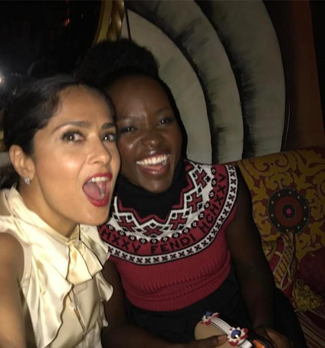 "<p>Girls' night out! Hayek was having the best time hanging out with Lupita Nyong'o and couldn't resist giving the Oscar winner a shout-out on Instagram: ""Her Spanish is so good!"" (Photo: <a href=""https://www.instagram.com/p/BUK1egWhYwU/"" rel=""nofollow noopener"" target=""_blank"" data-ylk=""slk:Salma Hayek via Instagram"" class=""link rapid-noclick-resp"">Salma Hayek via Instagram</a>) </p>"