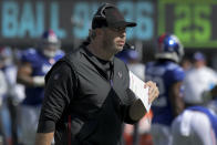 Atlanta Falcons head coach Arthur Smith works the sidelines during the first half of an NFL football game against the New York Giants, Sunday, Sept. 26, 2021, in East Rutherford, N.J. (AP Photo/Bill Kostroun)