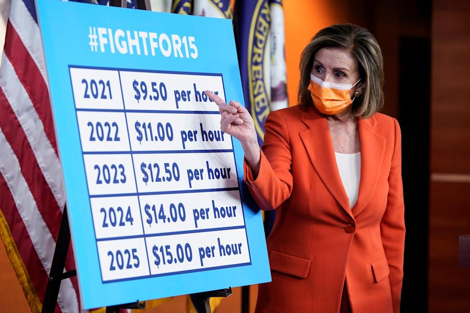 Speaker of the House Nancy Pelosi (D-CA) speaks to the media about legislation to raise the minimum wage during a briefing on Capitol Hill in Washington, U.S., March 11, 2021.      REUTERS/Joshua Roberts