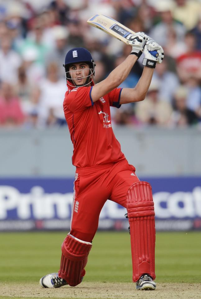 England's Alex Hales hits out during the second T20 international against Australia at the Riverside cricket ground in Chester-le-Street, near Durham, August 31, 2013. REUTERS/Philip Brown (BRITAIN - Tags: SPORT CRICKET)