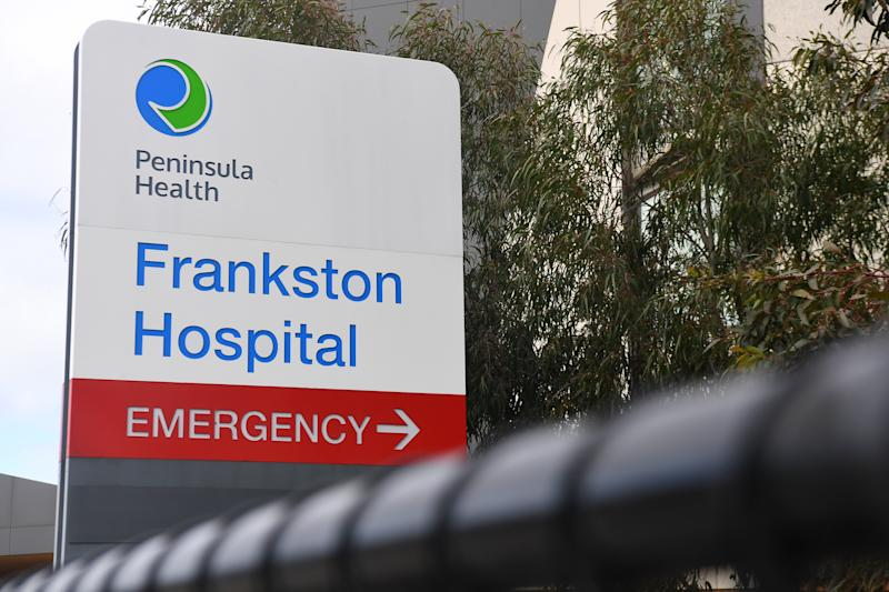 General view of signage for the Frankston Hospital in Melbourne. Source: AAP