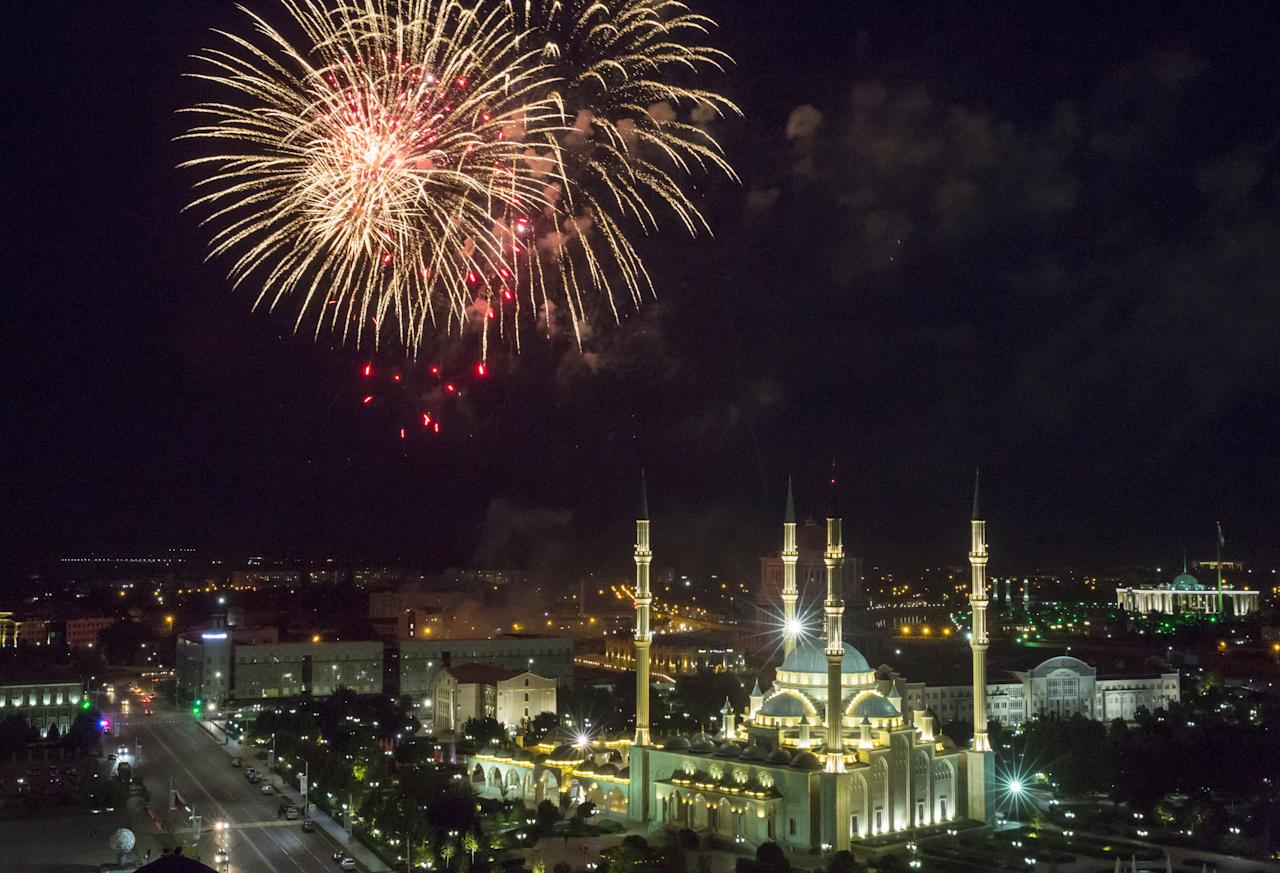GROZNY, CHECHNYA, RUSSIA - JUNE 3, 2019: Fireworks go off over the Akhmat Kadyrov (Heart of Chechnya) Mosque marking the end of Ramadan and the holiday of Eid al-Fitr. Yelena Afonina/TASS (Photo by Yelena Afonina\TASS via Getty Images)
