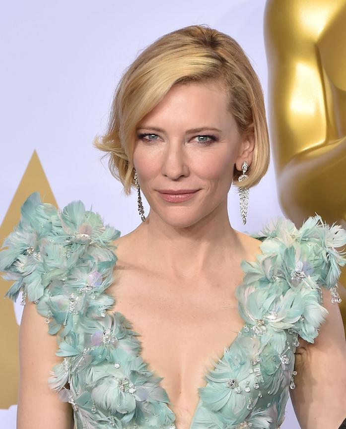 Cate Blanchett is known for her chic blonde bob [pictured here at this year's Oscars]...