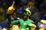 <p>An Australia fan enjoys the pre match atmosphere prior to the 2018 FIFA World Cup Russia group C match between France and Australia at Kazan Arena on June 16, 2018 in Kazan, Russia. (Photo by Shaun Botterill/Getty Images) </p>