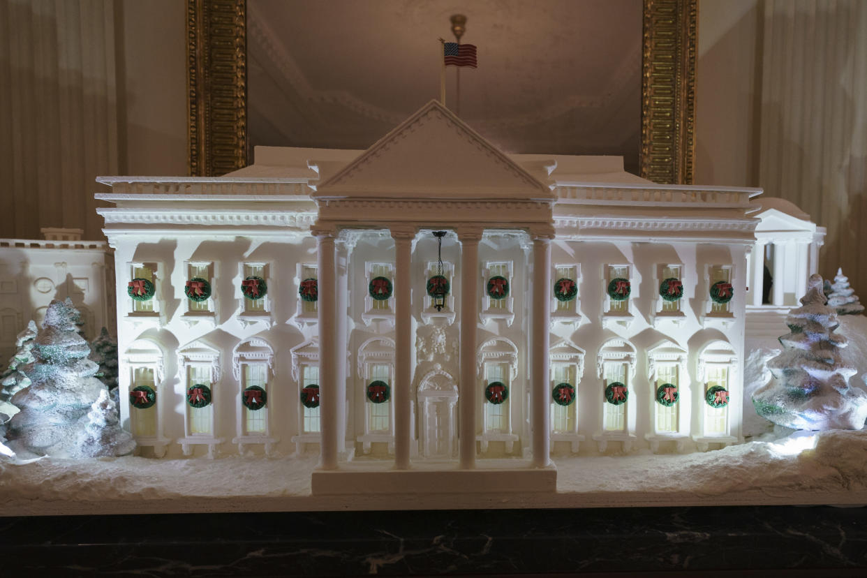 The gingerbread house, showcasing the full expanse of the National Mall: the Capitol, the Lincoln Memorial, the Jefferson Memorial, the Washington Monument, and, the White House is seen in the State Dining Room during the press preview at the White House in Washington, Monday, Nov. 26, 2018. (Photo: Carolyn Kaster/AP)