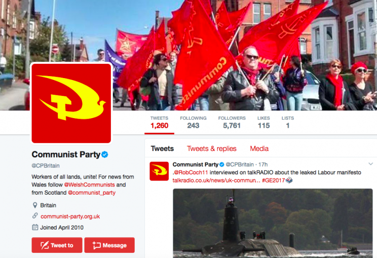 The former Morning Star writer quit the Communist Party of Great Britain in December (Twitter)