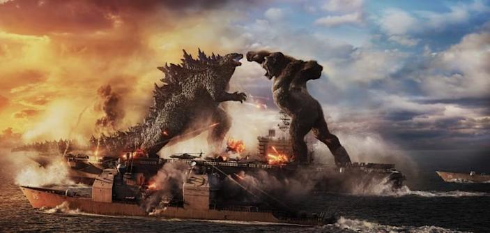 """Caption: (L-r) GODZILLA battles KONG in Warner Bros. Pictures' and Legendary Pictures' action adventure """"GODZILLA VS. KONG,"""" a Warner Bros. Pictures and Legendary Pictures release."""