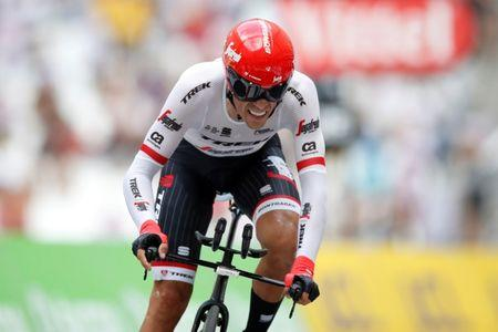 FILE PHOTO: Cycling - The 104th Tour de France cycling race - The 22.5-km individual time trial Stage 20 from Marseille to Marseille, France - July 22, 2017 - Trek-Segafredo rider Alberto Contador of Spain on the finish line. REUTERS/Christian Hartmann - File Photo