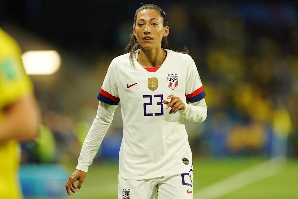 LE HAVRE, FRANCE - JUNE 20: Christen Press of the USA during the 2019 FIFA Women's World Cup France group F match between Sweden and USA at Stade Océane on June 20, 2019 in Le Havre, France. (Photo by Daniela Porcelli/Getty Images)