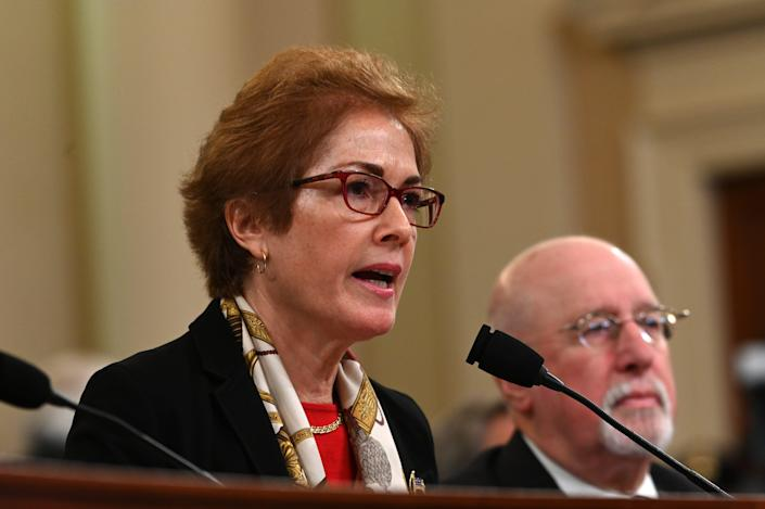 Former Ukraine ambassador Marie Yovanovitch testifies before the Permanent Select Committee on Intelligence on Nov. 15, 2019, in a public hearing in the impeachment inquiry into allegations President Donald Trump pressured Ukraine to investigate his political rivals.