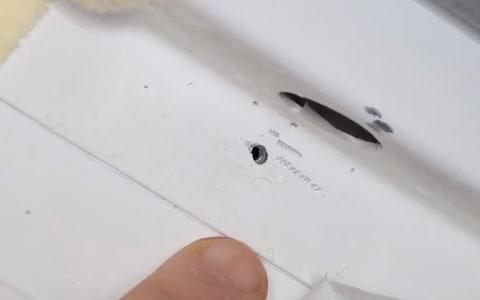 <span>The hole found in the ISS had been drilled </span> <span>Credit: Nasa </span>