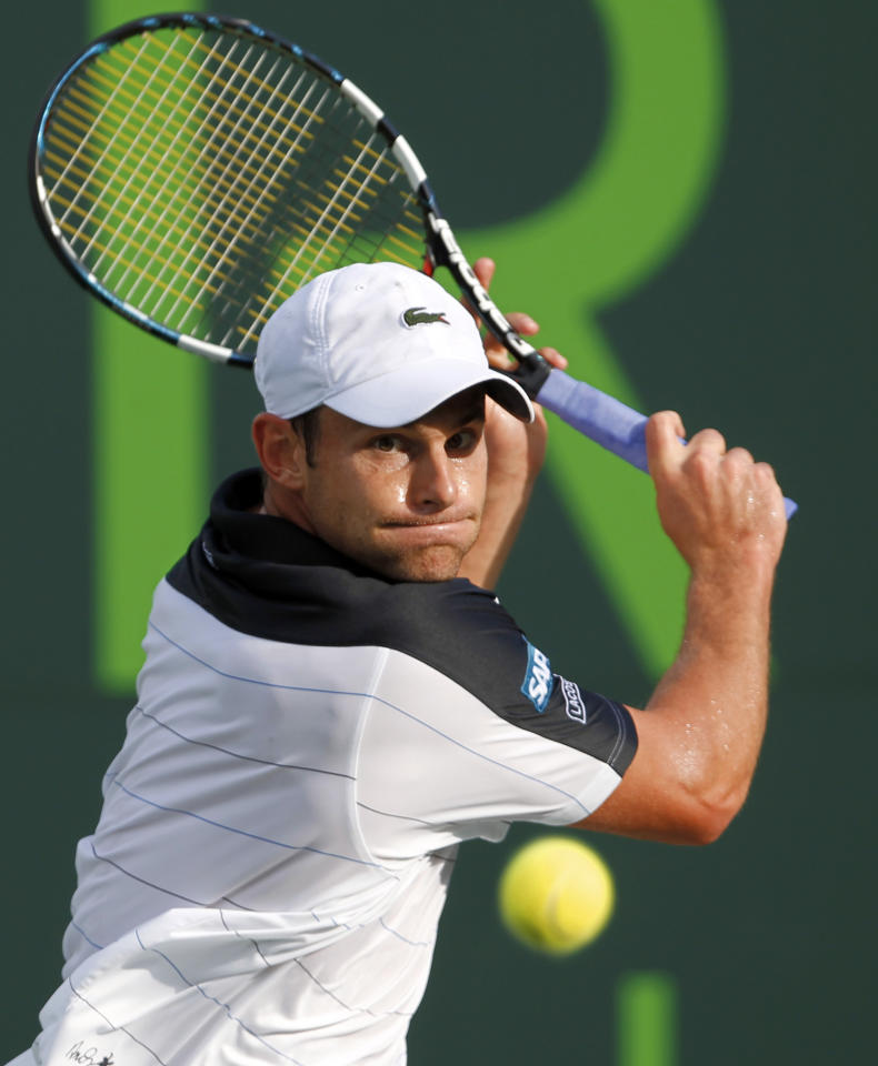 Andy Roddick, of the United States, prepares to return to Juan Monaco, of Argentina, during the Sony Ericsson Open tennis tournament in Key Biscayne, Fla., Tuesday, March 27, 2012. (AP Photo/Alan Diaz)
