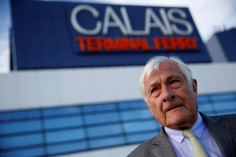 FILE PHOTO: Jean-Marc Puissesseau, president and chief executive of Port Boulogne Calais, poses in front of the Ferry Terminal in Calais