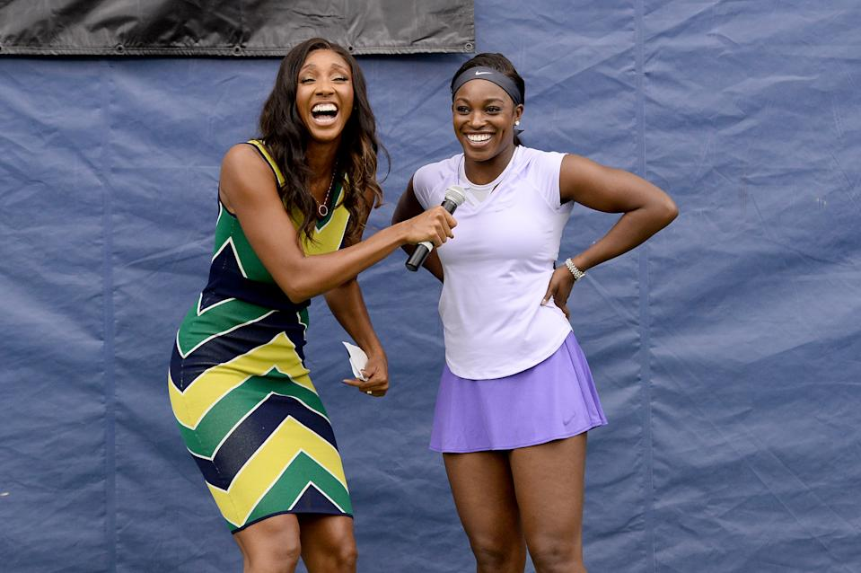 NEW YORK, NEW YORK - AUGUST 21: Maria Taylor and Sloane Stephens speak as Sloane Stephens hosts a private Tennis clinic with Mercedes-Benz on August 21, 2019 in New York City. (Photo by Noam Galai/Getty Images for Mercedes-Benz)