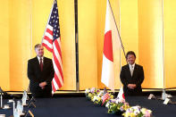U.S. Deputy Secretary of State Stephen Biegun, left, and Japan's Foreign Minister Toshimitsu Motegi attend their bilateral meeting in Tokyo Friday, July 10, 2020. (Behrouz Mehri/Pool Photo via AP)