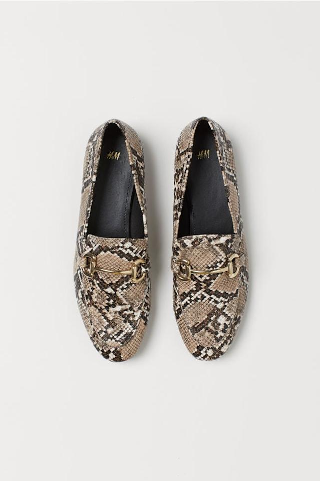 """<p>Pair these <a href=""""https://www.popsugar.com/buy/HampM-Loafers-478160?p_name=H%26amp%3BM%20Loafers&retailer=www2.hm.com&pid=478160&price=30&evar1=fab%3Aus&evar9=46483203&list1=shopping%2Ch%26m%2Cshoes%2Cfall%20shoes%2Caffordable%20shopping&prop13=api&pdata=1"""" rel=""""nofollow"""" data-shoppable-link=""""1"""" target=""""_blank"""" class=""""ga-track"""" data-ga-category=""""Related"""" data-ga-label=""""https://www2.hm.com/en_us/productpage.0758472003.html"""" data-ga-action=""""In-Line Links"""">H&amp;M Loafers</a> ($30) with sleek trousers for a polished look.</p>"""