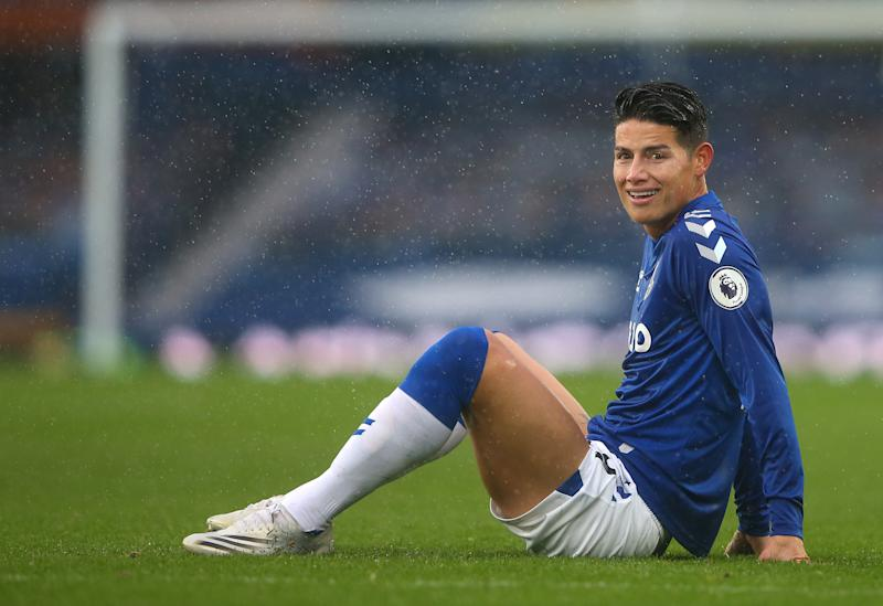 LIVERPOOL, ENGLAND - OCTOBER 03: James Rodriguez of Everton looks on during the Premier League match between Everton and Brighton & Hove Albion at Goodison Park on October 03, 2020 in Liverpool, England. Sporting stadiums around the UK remain under strict restrictions due to the Coronavirus Pandemic as Government social distancing laws prohibit fans inside venues resulting in games being played behind closed doors. (Photo by Alex Livesey/Getty Images)