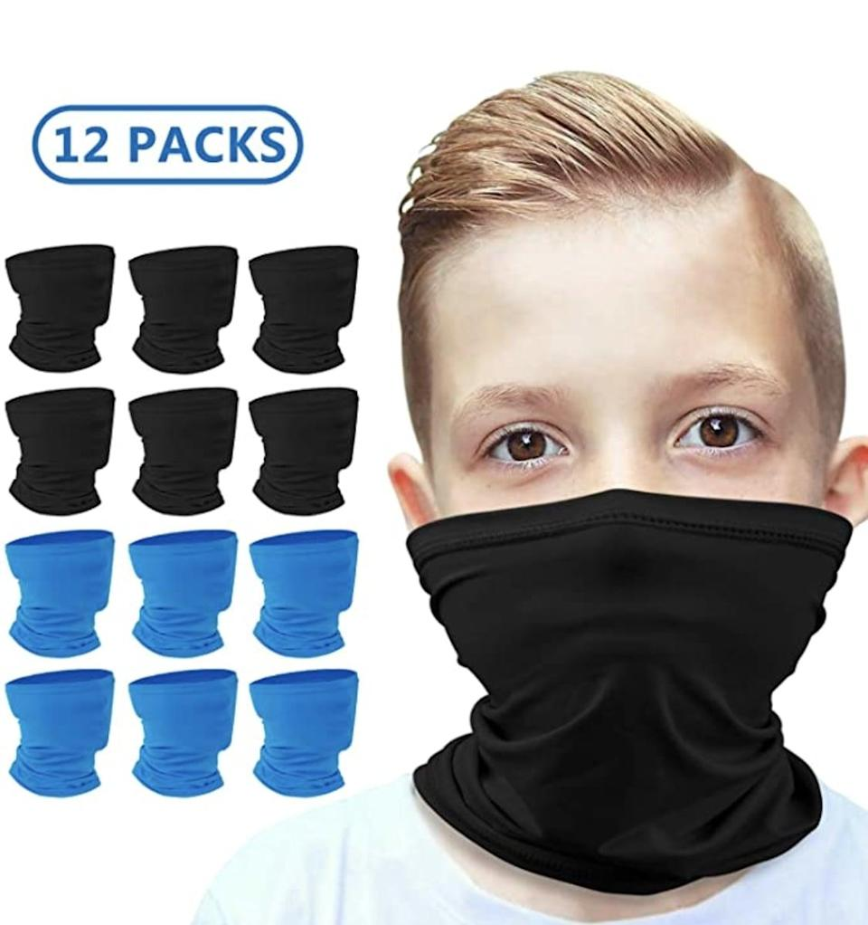 <p>It's not a bad idea to stock up on gaiters so your child always has a clean one ready. This <span>Anstronic 12-Pack Kids Cooling Neck Gaiter Scarf</span> ($23, originally $30) is a good deal and will make sure you always have one handy.</p>