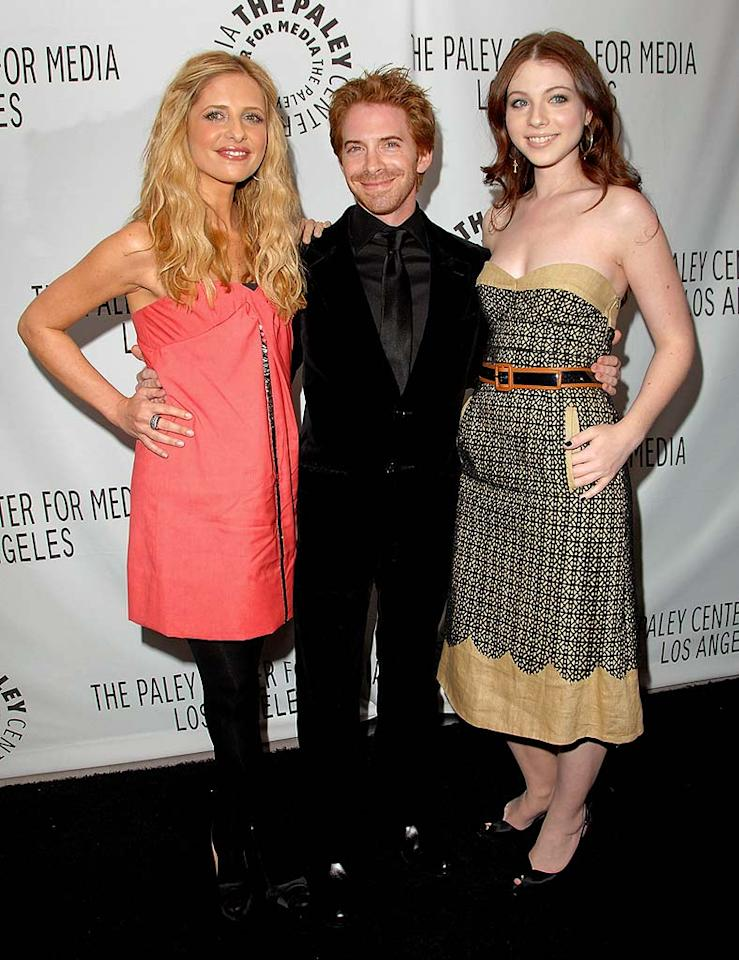 "Sarah Michelle Gellar, Seth Green, and Michelle Trachtenberg arrive at the ""Buffy Reunion"" presented by the 25th Annual William S. Paley Television Festival. Yes, Seth really is that short in real life. Jon Kopaloff/<a href=""http://www.filmmagic.com/"" target=""new"">FilmMagic.com</a> - March 20, 2008"