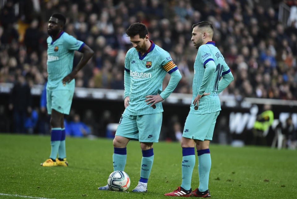 Barcelona has little strategy beyond Lionel Messi's brilliance at this point. (Photo by JOSE JORDAN/AFP via Getty Images)