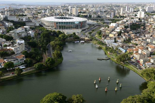An aerial shot shows the Arena Fonte Nova stadium, one of the stadiums hosting the 2014 World Cup soccer matches, in Salvador, in the state of Bahia, northern Brazil March 28, 2014. Picture taken March 28, 2014. REUTERS/Valter Pontes (BRAZIL - Tags: SPORT SOCCER WORLD CUP)