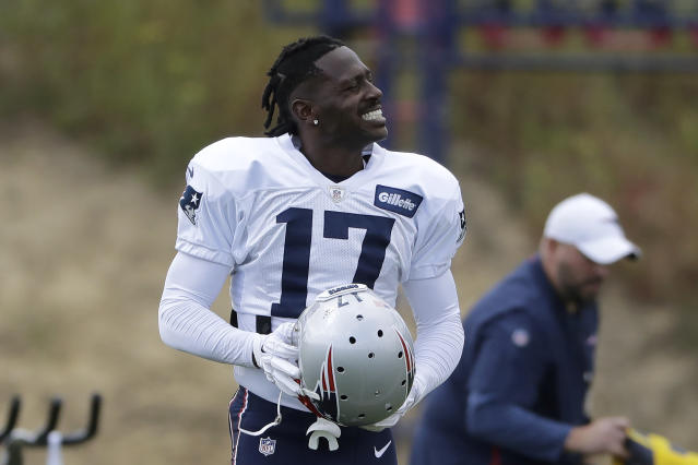 Antonio Brown is looking for work again after getting cut on Friday by the Patriots. (AP)