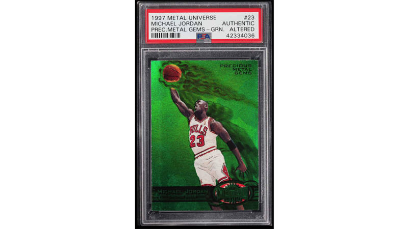 The 1997-1998 Metal Universe Precious Metal Gems Green Michael Jordan card