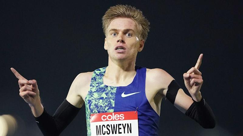 Stewart McSweyn has won the men's 5000m race at the Melbourne Track Classic at Lakeside Stadium