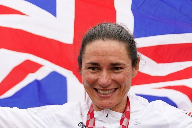 <strong>Great Britain's Sarah Storey celebrates with the gold medal in the Women's C5 time trial.</strong> (Photo: Tim Goode - PA Images via Getty Images)