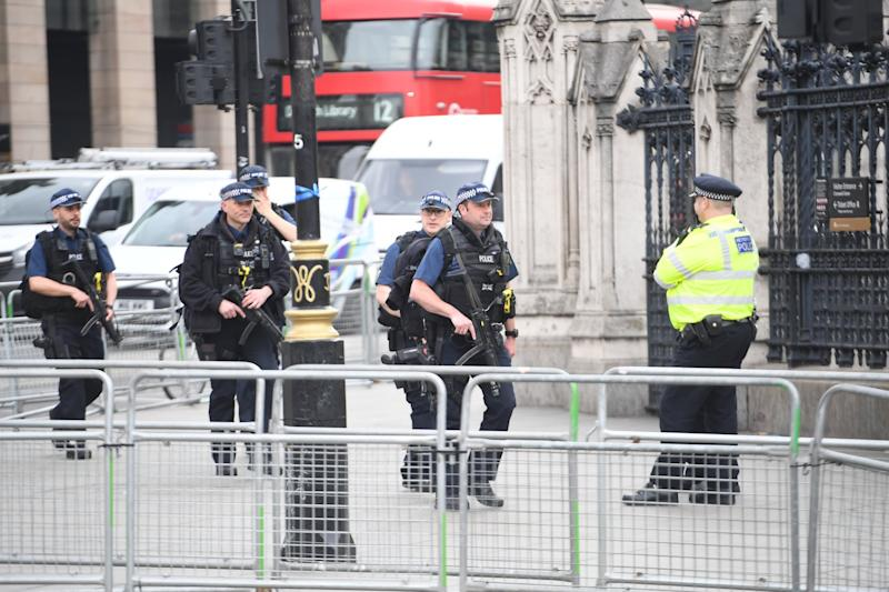 Armed Police in Parliament Square on Tuesday as Extinction Rebellion protests continue. (Jeremy Selwyn)