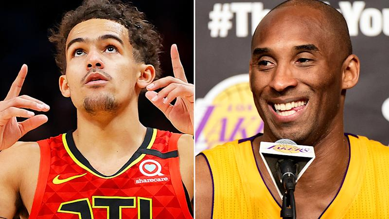 Atlanta Hawks star Trae Young, pictured left, put up a stat line befitting NBA legend Kobe Bryant, right.