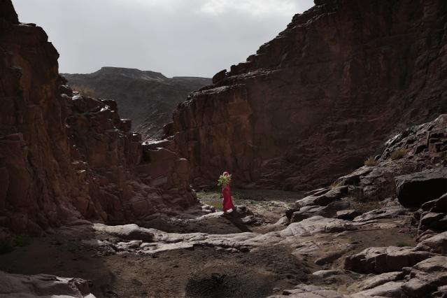In this March 29, 2019 photo, a Bedouin girl holds plants she picked for her mother in the mountains near Wadi Sahw, Abu Zenima, in South Sinai, Egypt. Four Bedouin women are for the first time leading tours in Egypt's Sinai Peninsula, breaking new ground in their deeply conservative community, where women almost never work outside the home or interact with outsiders. The guides talk about the local plants and herbs, the history and legends of the area and point out the borders of the area's tribes. (AP Photo/Nariman El-Mofty)