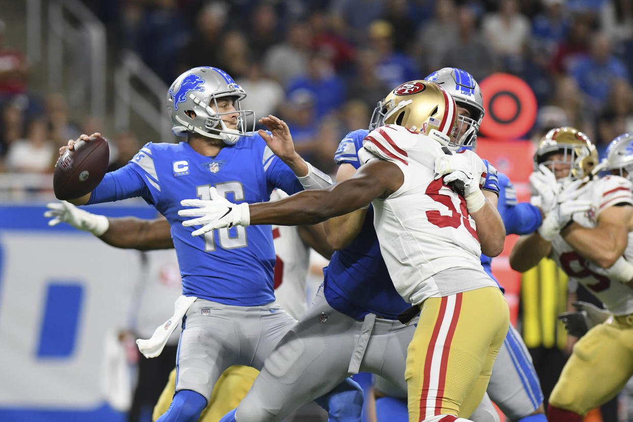 Detroit Lions quarterback Jared Goff (16) led a late rally against the 49ers. (AP Photo/Lon Horwedel)