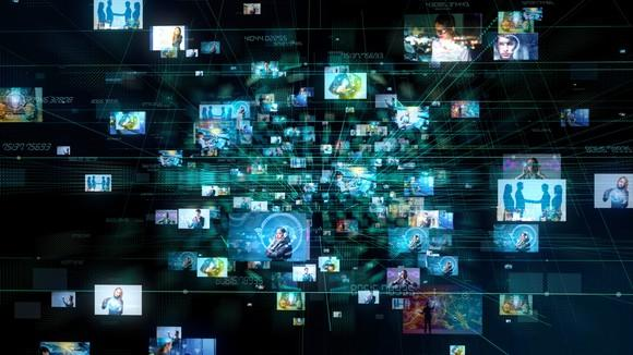 Images from dozens of TV screens emanating from a central location flying toward the viewer.