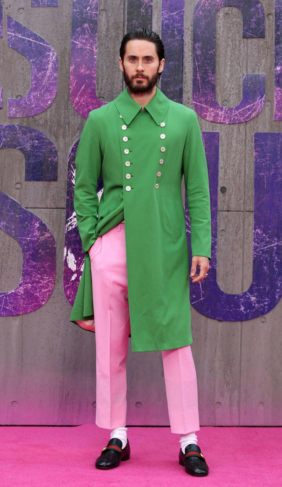 <p>Eyebrows were raised by Jared Leto's outfit which looked like it'd been stolen from the Joker's own wardrobe.</p>