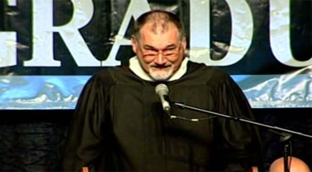 Principal busted ripping off graduation speech