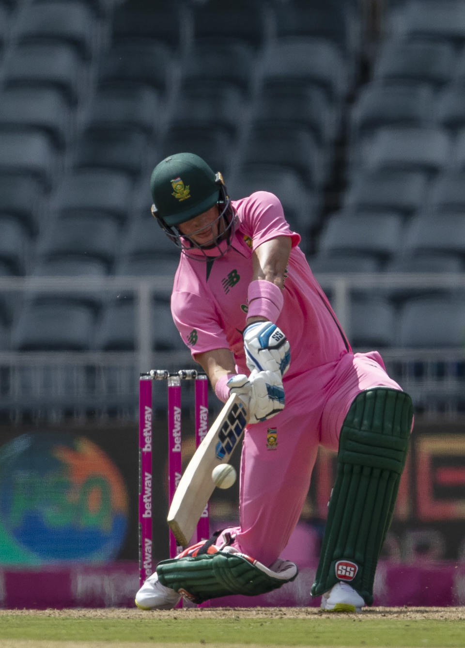 South Africa's batsman Rassie van der Dussen plays a shot during the second One Day International cricket match between South Africa and Pakistan at the Wanderers stadium in Johannesburg, South Africa, Sunday, April 4, 2021. (AP Photo/Themba Hadebe)