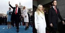 <p>Tiffany looked sophisticated in this white, double-breasted coat by Chinese designer Taoray Wang. She complemented the look with a sweet pair of London-based forest green suede Farfalla booties by Aruna Seth. <i> (Photos: Getty) </i> </p>