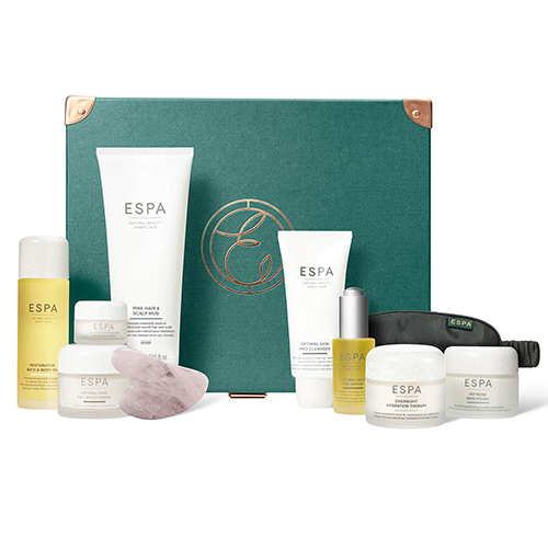 """<p><a class=""""link rapid-noclick-resp"""" href=""""https://go.redirectingat.com?id=127X1599956&url=https%3A%2F%2Fwww.espaskincare.com%2Fthe-complete-retreat-collection%2F12449302.html%3Fautocomplete%3Dproductsuggestion&sref=https%3A%2F%2Fwww.esquire.com%2Fuk%2Ffood-drink%2Fg34714919%2Fbest-christmas-hampers%2F"""" rel=""""nofollow noopener"""" target=""""_blank"""" data-ylk=""""slk:SHOP"""">SHOP</a></p><p>Everyone's stressed. Problem is, a trip to a spa/massage therapist right now is likely to induce even more anxiety than staying in. That's why they need this at-home spa treatment from ESPA – brilliant cleaners, moisturisers, body oils and skin polishes that will keep them feeling refreshed and relaxed. It comes in a nice green box, too. Namaste.</p>"""