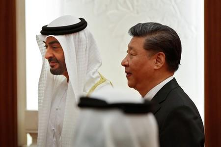 FILE PHOTO: Abu Dhabi's Crown Prince Sheikh Mohammed bin Zayed Al Nahyan and Chinese President Xi witness a signing ceremony in Beijing