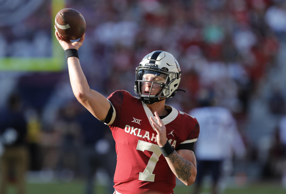 Oklahoma quarterback Spencer Rattler was booed Saturday by his own school's fans. (AP Photo/Alonzo Adams)