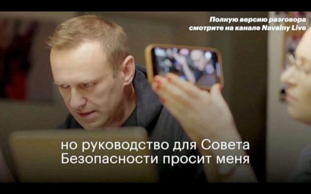PHOTO: Russian opposition politician Alexei Navalny is seen during a phone call, when he had tricked a secret agent into disclosing details of the botched plot to kill him, at undisclosed location in Germany, December 21, 2020.  (Navalny.com/via Reuters)