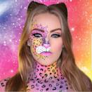 """<p>Sometimes a leopard really can change its spots. Just be sure to have makeup brushes with extremely fine tips if you want to replicate this colorful design. </p><p><a class=""""link rapid-noclick-resp"""" href=""""https://www.amazon.com/Disposable-Eyeliner-JASSINS-Applicator-Cosmetic/dp/B074SFJSNF/ref=asc_df_B074SFJSNF/?tag=syn-yahoo-20&ascsubtag=%5Bartid%7C10050.g.34087783%5Bsrc%7Cyahoo-us"""" rel=""""nofollow noopener"""" target=""""_blank"""" data-ylk=""""slk:SHOP MAKEUP BRUSHES"""">SHOP MAKEUP BRUSHES</a></p><p><strong>RELATED: </strong><a href=""""https://www.countryliving.com/diy-crafts/g21527022/cat-makeup-ideas/"""" rel=""""nofollow noopener"""" target=""""_blank"""" data-ylk=""""slk:23 Cat Makeup Ideas for a Purr-fect Halloween Costume"""" class=""""link rapid-noclick-resp"""">23 Cat Makeup Ideas for a Purr-fect Halloween Costume</a></p><p><a href=""""https://www.instagram.com/p/BnOw_woAwsi/?utm_source=ig_embed&utm_campaign=loading"""" rel=""""nofollow noopener"""" target=""""_blank"""" data-ylk=""""slk:See the original post on Instagram"""" class=""""link rapid-noclick-resp"""">See the original post on Instagram</a></p>"""