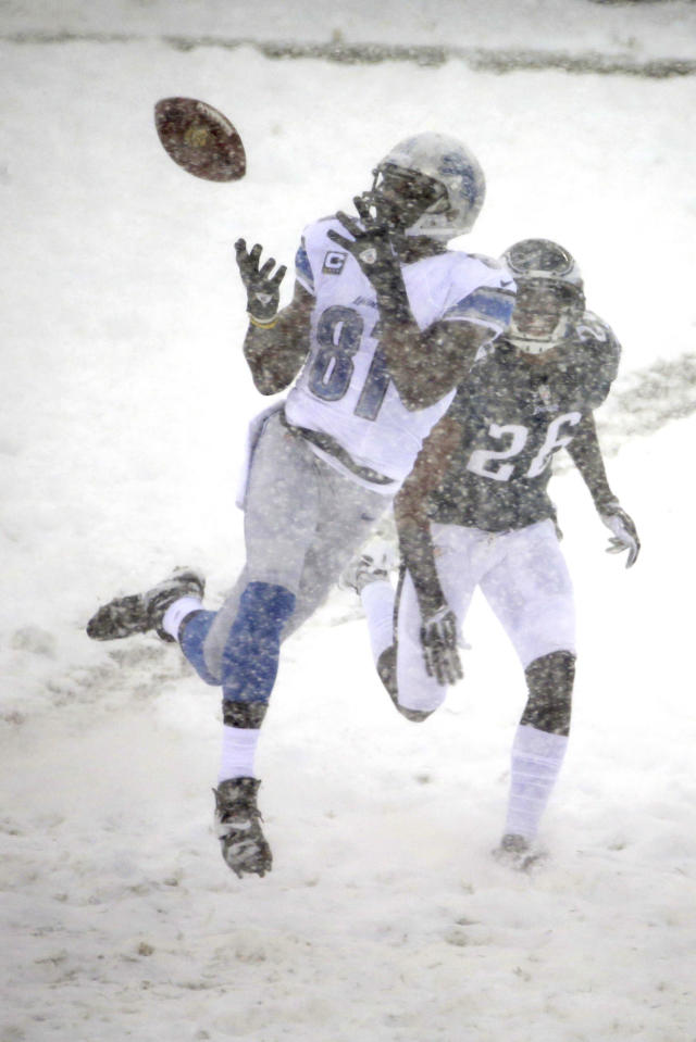 Detroit Lions' Calvin Johnson (81) catches a pass as Philadelphia Eagles' Cary Williams (26) defends during the first half of an NFL football game, Sunday, Dec. 8, 2013, in Philadelphia. (AP Photo/Matt Rourke)