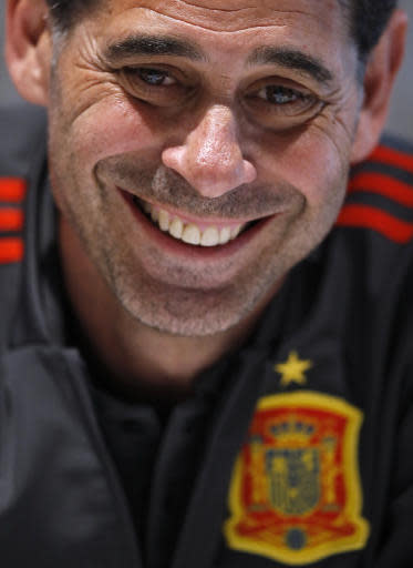 Spain's head coach Fernando Hierro smiles during a meeting with media of Spain at the 2018 soccer World Cup in Krasnodar, Russia, Monday, June 18, 2018. (AP Photo/Manu Fernandez)
