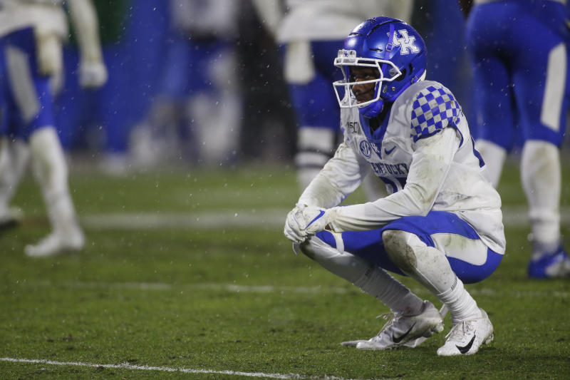 Kentucky defensive back Cedrick Dort Jr. takes a moment after failing to stop Georgia running back D'Andre Swift during the second half of an NCAA college football game Saturday, Oct. 19, 2019, in Athens, Ga. (Joshua L. Jones/Athens Banner-Herald via AP)