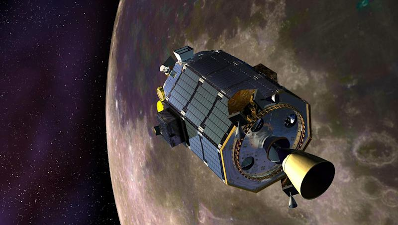 """In this artist's concept provided by NASA the Lunar Atmosphere and Dust Environment Explorer (LADEE) spacecraft is seen orbiting the moon as it prepares to fire its maneuvering thrusters to maintain a safe orbital altitude. NASA's small moon-orbiting spacecraft LADEE (pronounced LAH'-dee) is no more. Flight controllers confirmed early Friday April 18, 2014 that LADEE crashed into the back side of the moon. (AP Photo/NASA, Dana Berry) Credit: NASA Ames / Dana Berry ----- What is LADEE? The Lunar Atmosphere and Dust Environment Explorer (LADEE) is designed to study the Moon's thin exosphere and the lunar dust environment. An """"exosphere"""" is an atmosphere that is so thin and tenuous that molecules don't collide with each other. Studying the Moon's exosphere will help scientists understand other planetary bodies with exospheres too, like Mercury and some of Jupiter's bigger moons. The orbiter will determine the density, composition and temporal and spatial variability of the Moon's exosphere to help us understand where the species in the exosphere come from and the role of the solar wind, lunar surface and interior, and meteoric infall as sources. The mission will also examine the density and temporal and spatial variability of dust particles that may get lofted into the atmosphere. The mission also will test several new technologies, including a modular spacecraft bus that may reduce the cost of future deep space missions and demonstrate two-way high rate laser communication for the first time from the Moon. LADEE now is ready to launch when the window opens on Sept. 6, 2013. Read more:http://www.nasa.gov/ladee enables NASA's mission through four scientific endeavors: Earth Science, Heliophysics, Solar System Exploration, and Astrophysics. Goddard plays a lea"""