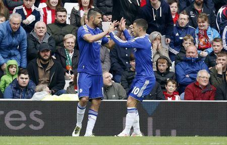 Britain Soccer Football - Sunderland v Chelsea - Barclays Premier League - Stadium of Light - 7/5/16 Diego Costa celebrates with Eden Hazard after scoring the first goal for Chelsea Action Images via Reuters / Ed Sykes