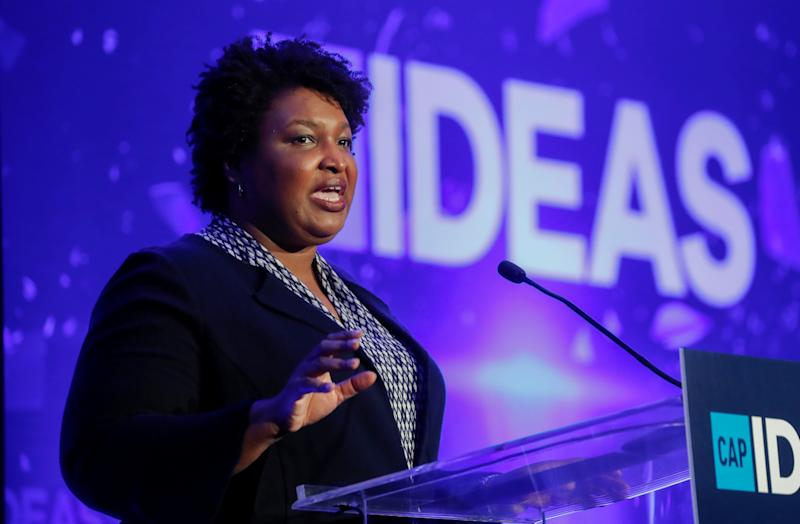Georgia Democrat Stacey Abrams, a rising party star who narrowly fell short of becoming the first female African American governor last year, speaks at the Center for American Progress (CAP) 2019 Ideas Conference in Washington, U.S., May 22, 2019. (Kevin Lamarque/Reuters)